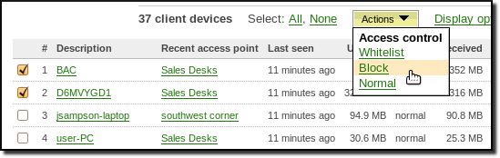 Access control options on the usage list