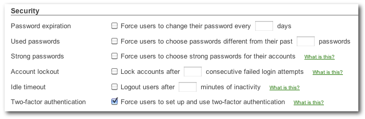 Force users to use two-fact authentication
