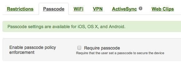 Mac OS X passcode enforcement
