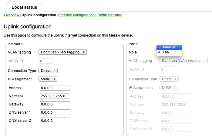 my.meraki static IP