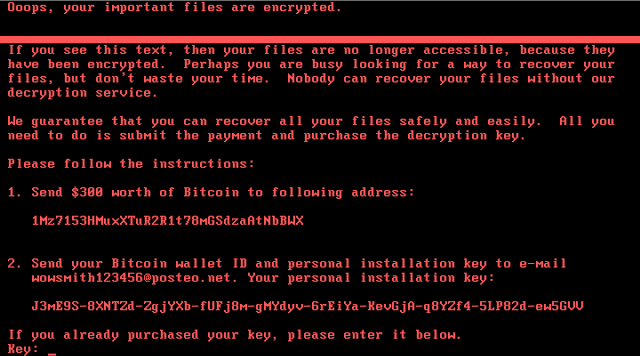 Example of a system infected with Nyetya ransomware
