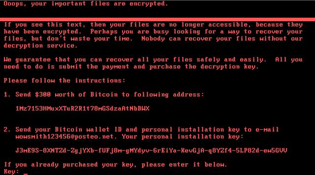 Beispiel eines Systems, das mit Nyetya Ransomware infiziert ist