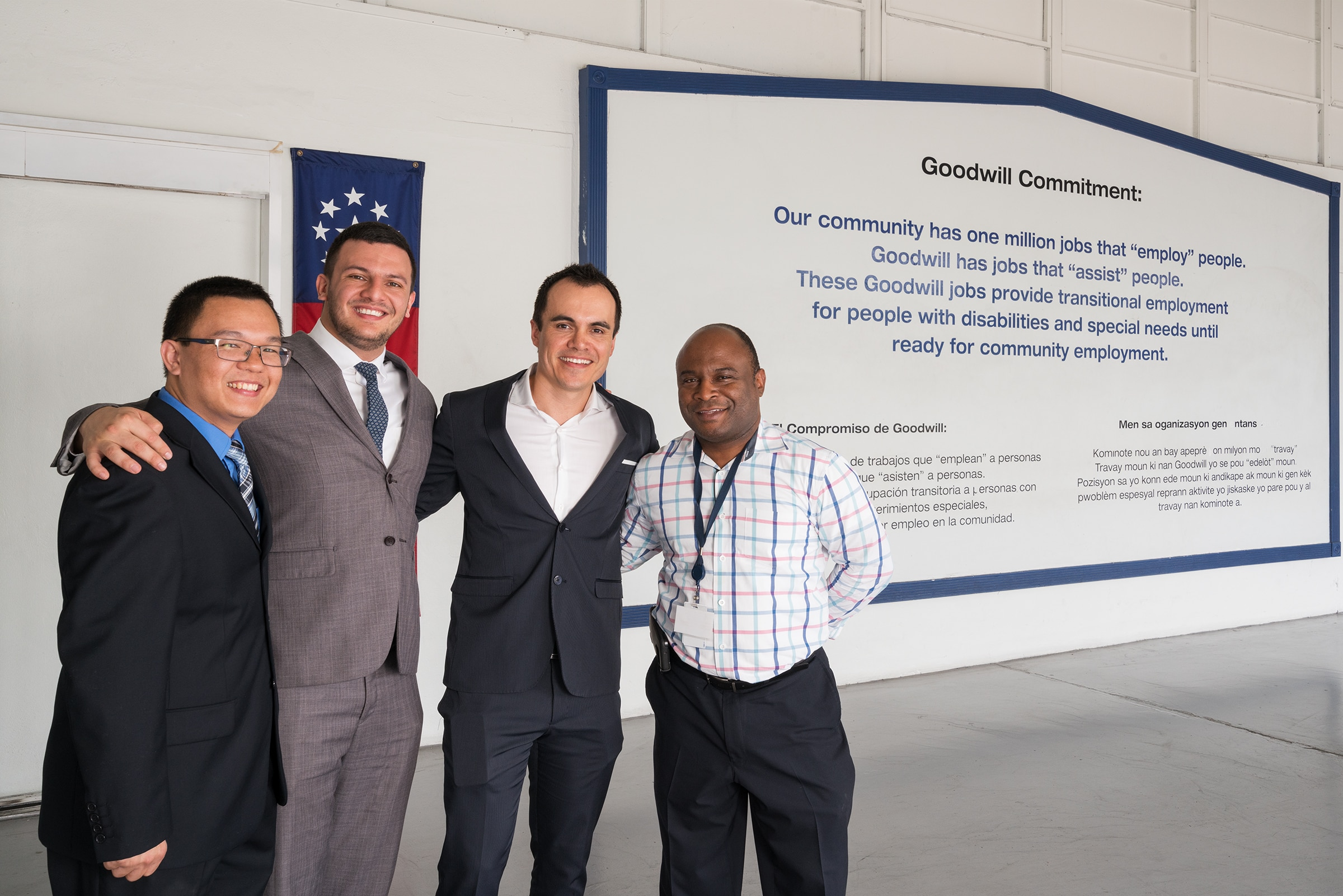 From left to right: Zuo Wang, Engineer at Soutec, Pedro Colmenares, Account Executive at Soutec, Julian Pinzon, Managing Director at Soutec, Sam Robinson, IT Manager at Goodwill of South Florida.