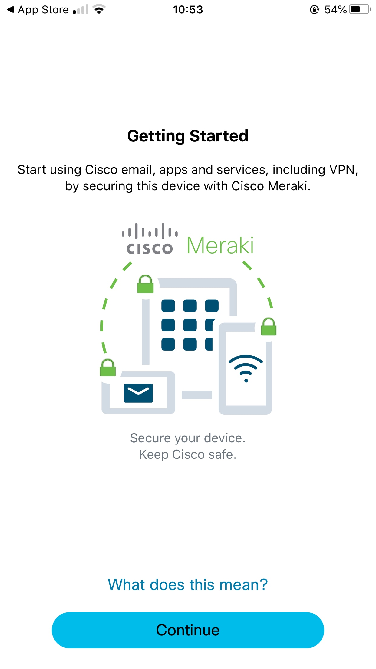 Screenshot of getting started page on mobile app