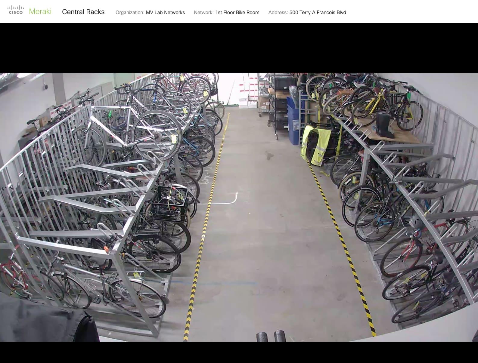 Screenshot of security camera footage of bike storage room