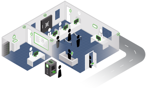Illustration of bank branch layout with security cameras