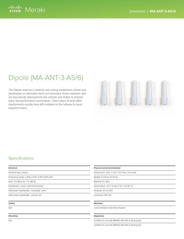 Dipole Antenna (3.8/5.5 dBi) Datasheet