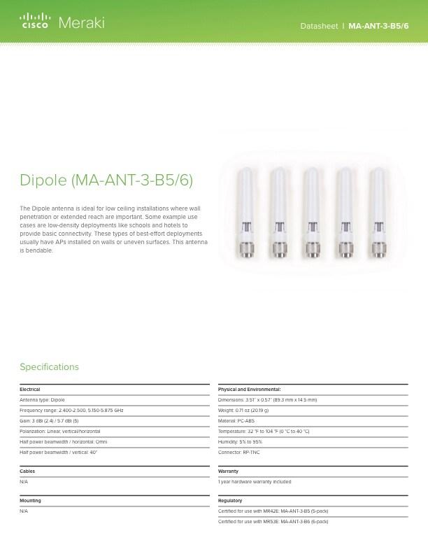 Dipole Antenna (3/5.7 dBi) Datasheet