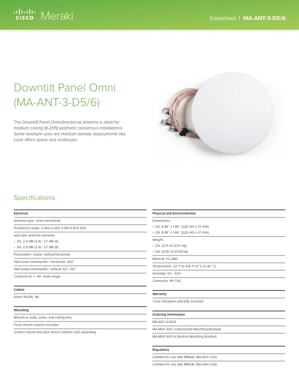 Downtilt Panel Omni Antenna Datasheet