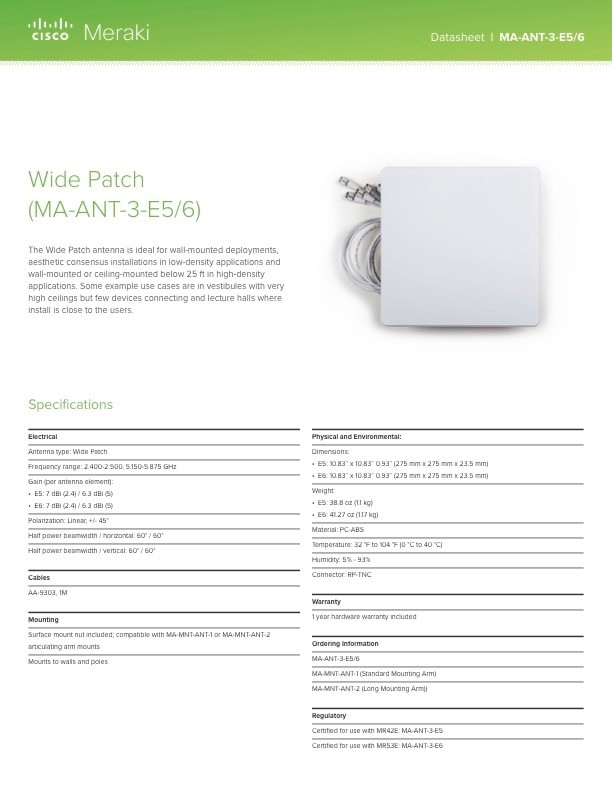Wide Patch Antenna Datasheet