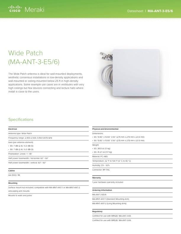 Wide Patch Antenna Datasheet