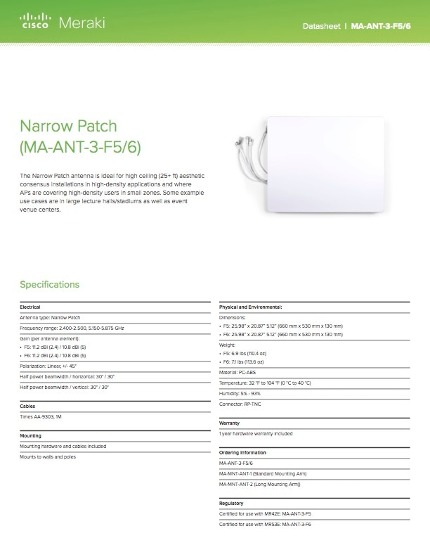 Narrow Patch Antenna Datasheet