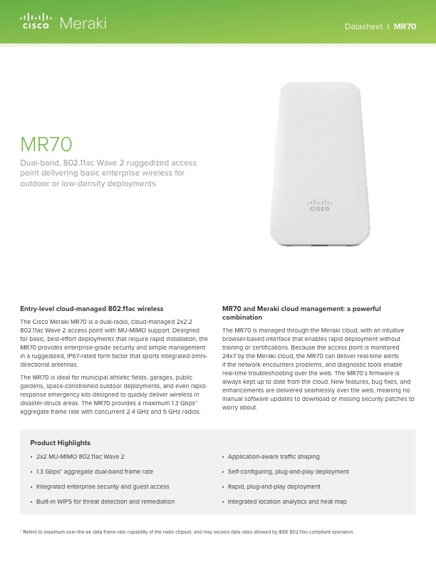 MR70 Datasheet