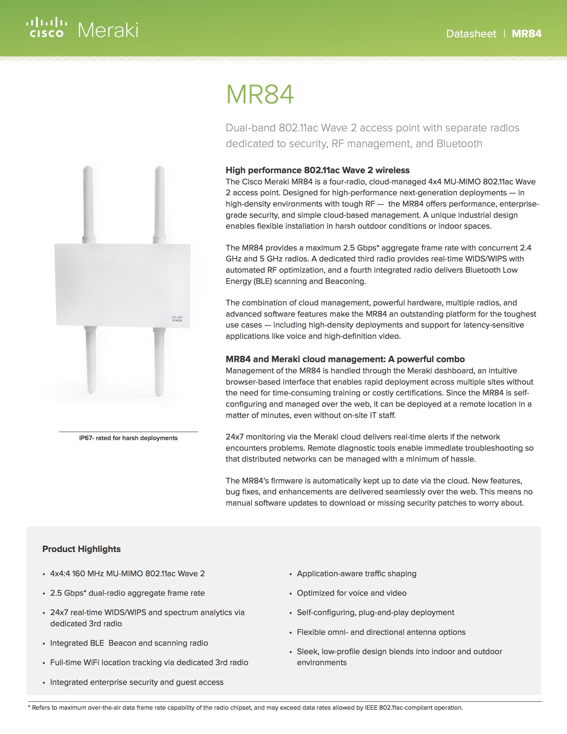Cisco Meraki Library Datasheets Whitepapers Product Images Pic1 Network Diagram Lan Fault Tolerance System Mr74 Datasheet Mr84