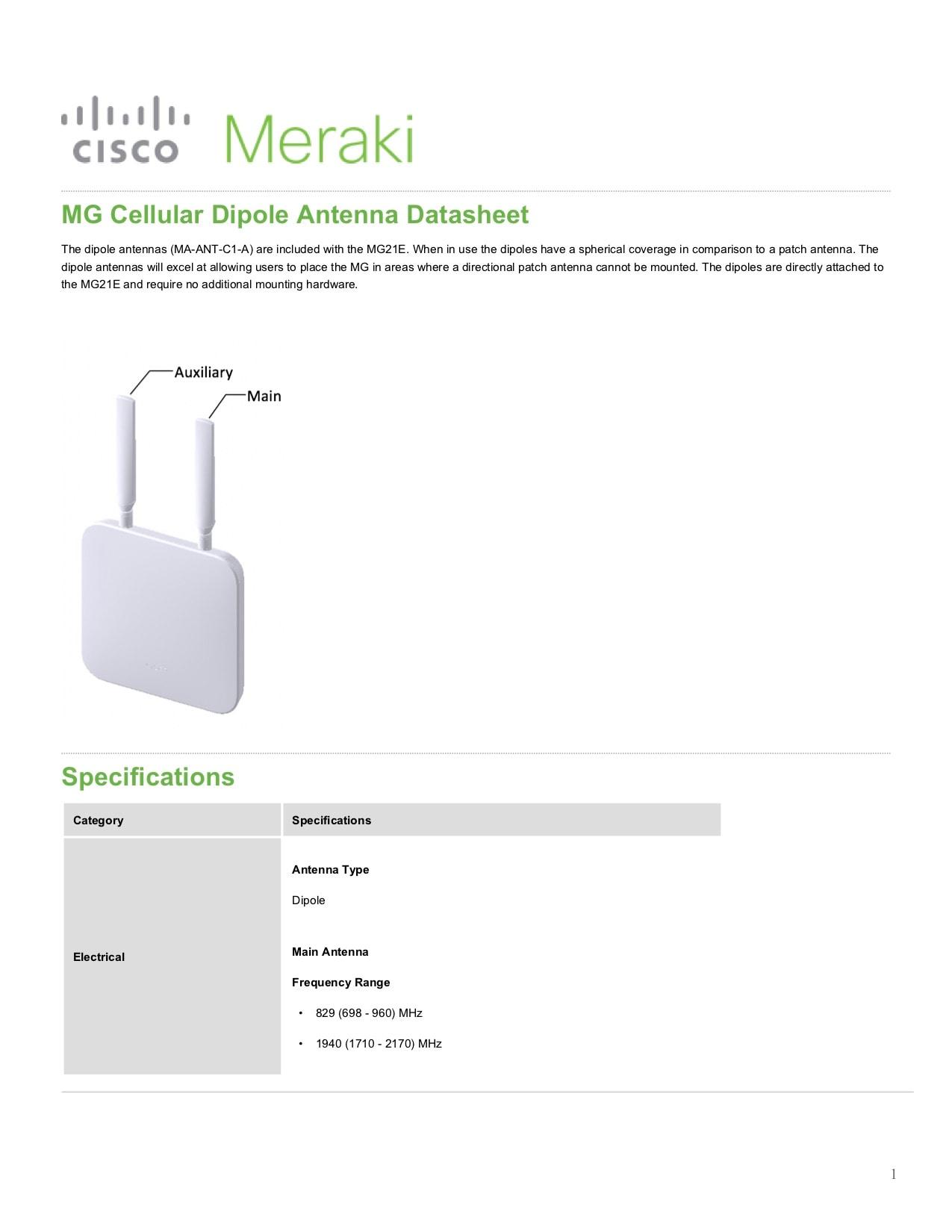 MG Cellular Dipole Antenna Datasheet