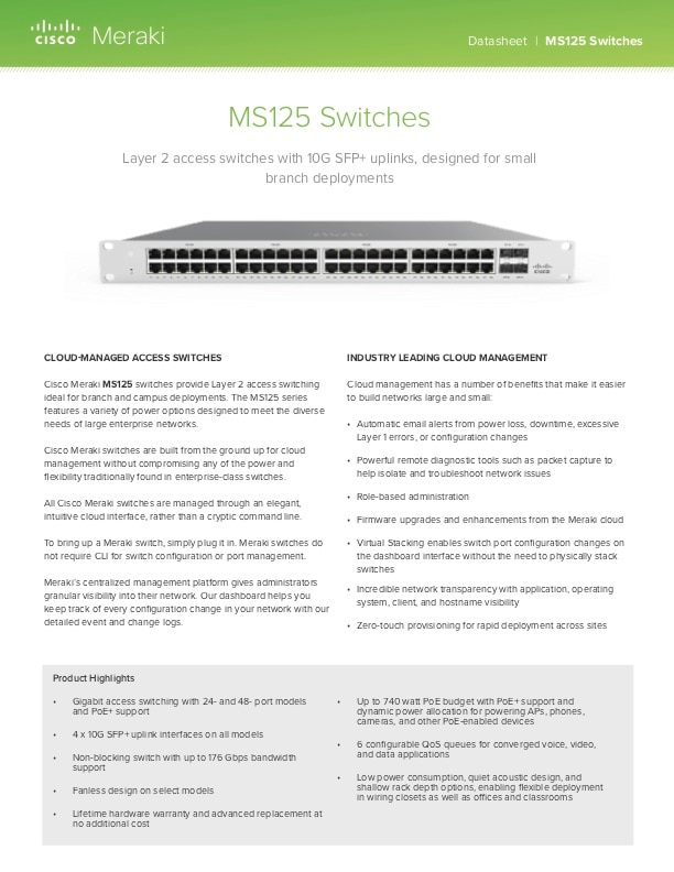 MS125 Series Datasheet