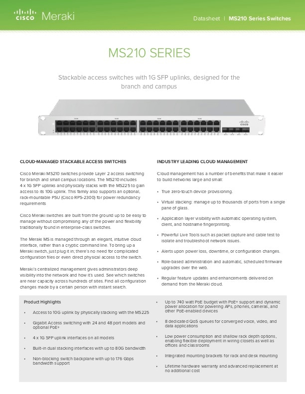 MS210 Series Datasheet