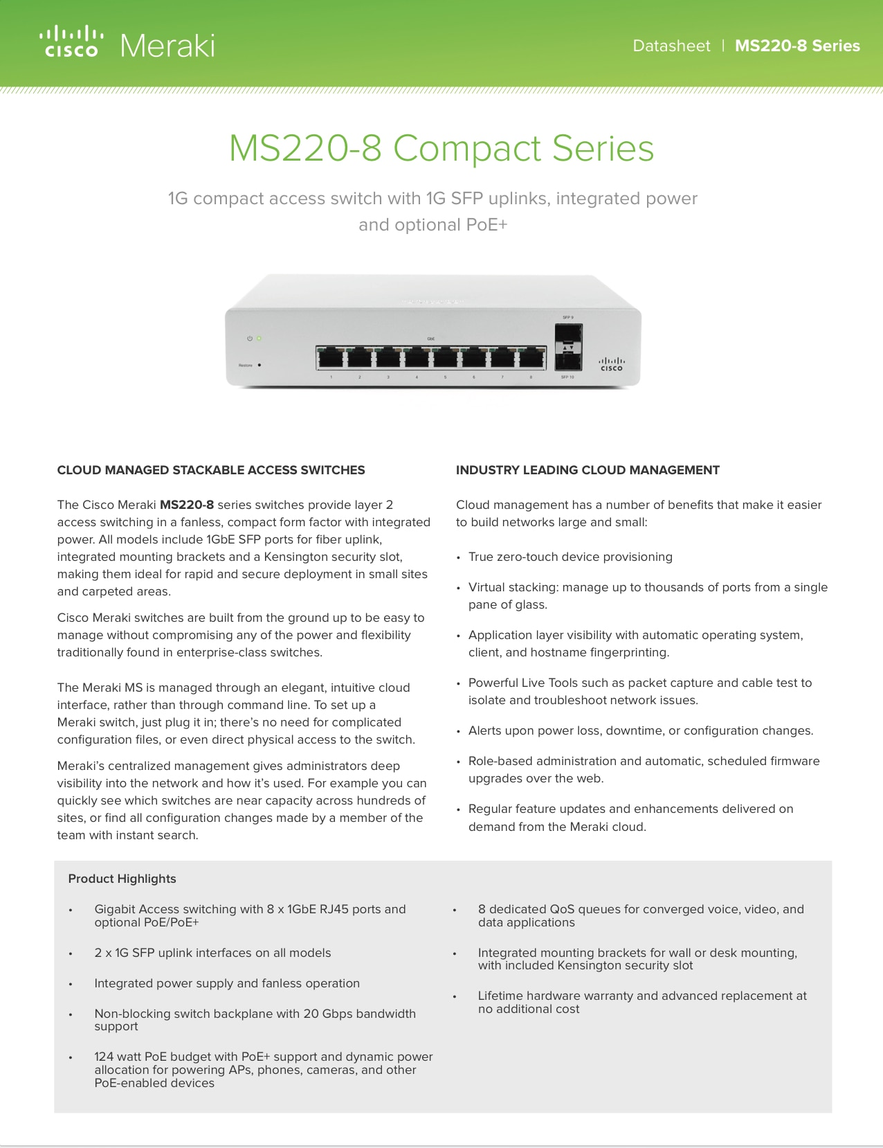 MS220 Compact Series Datasheet (Archived)