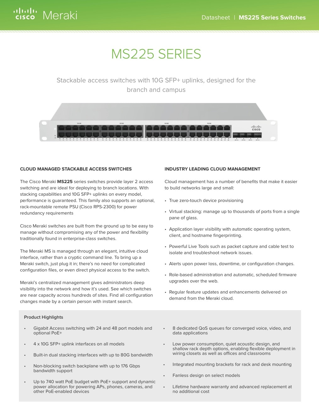 MS225 Series Datasheet