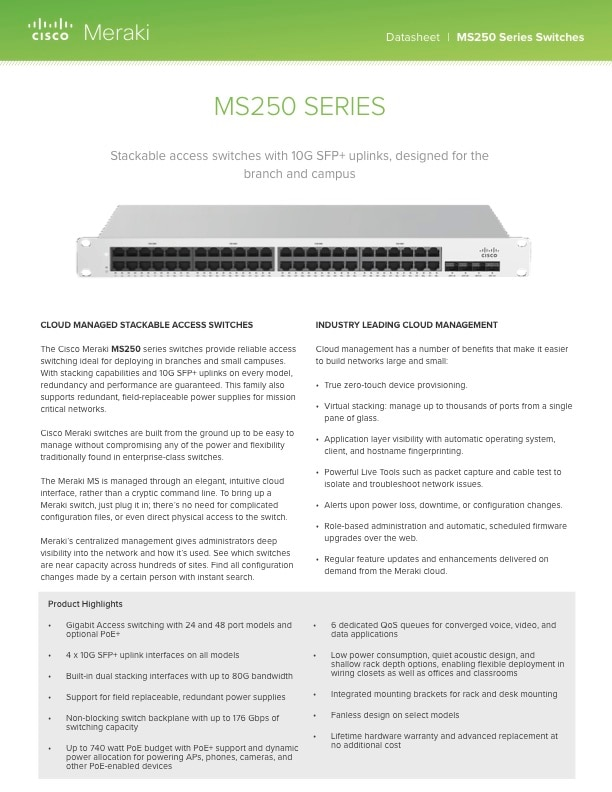 MS250 Series Datasheet
