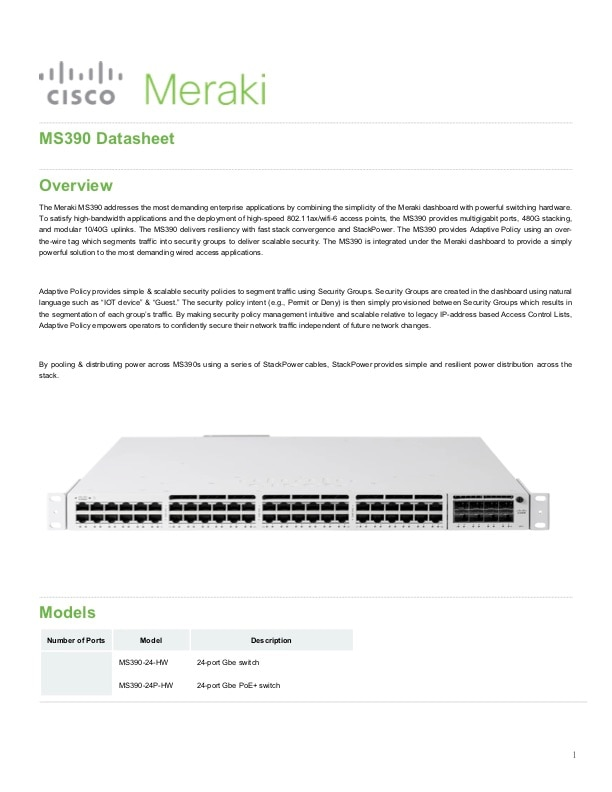 MS390 Series Datasheet