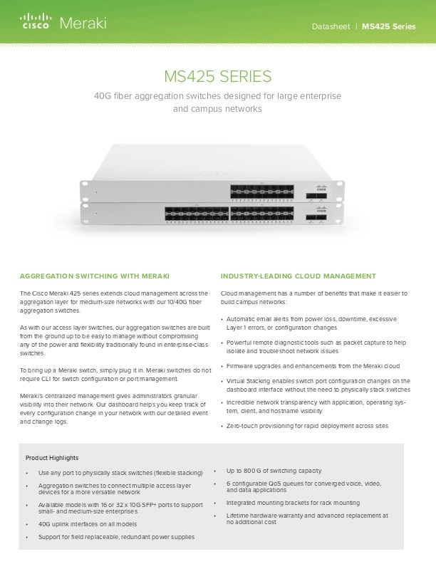 MS425 Series Datasheet