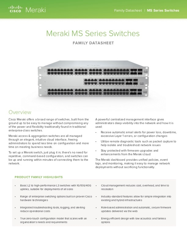 Cisco Meraki Meraki Library Datasheets Whitepapers