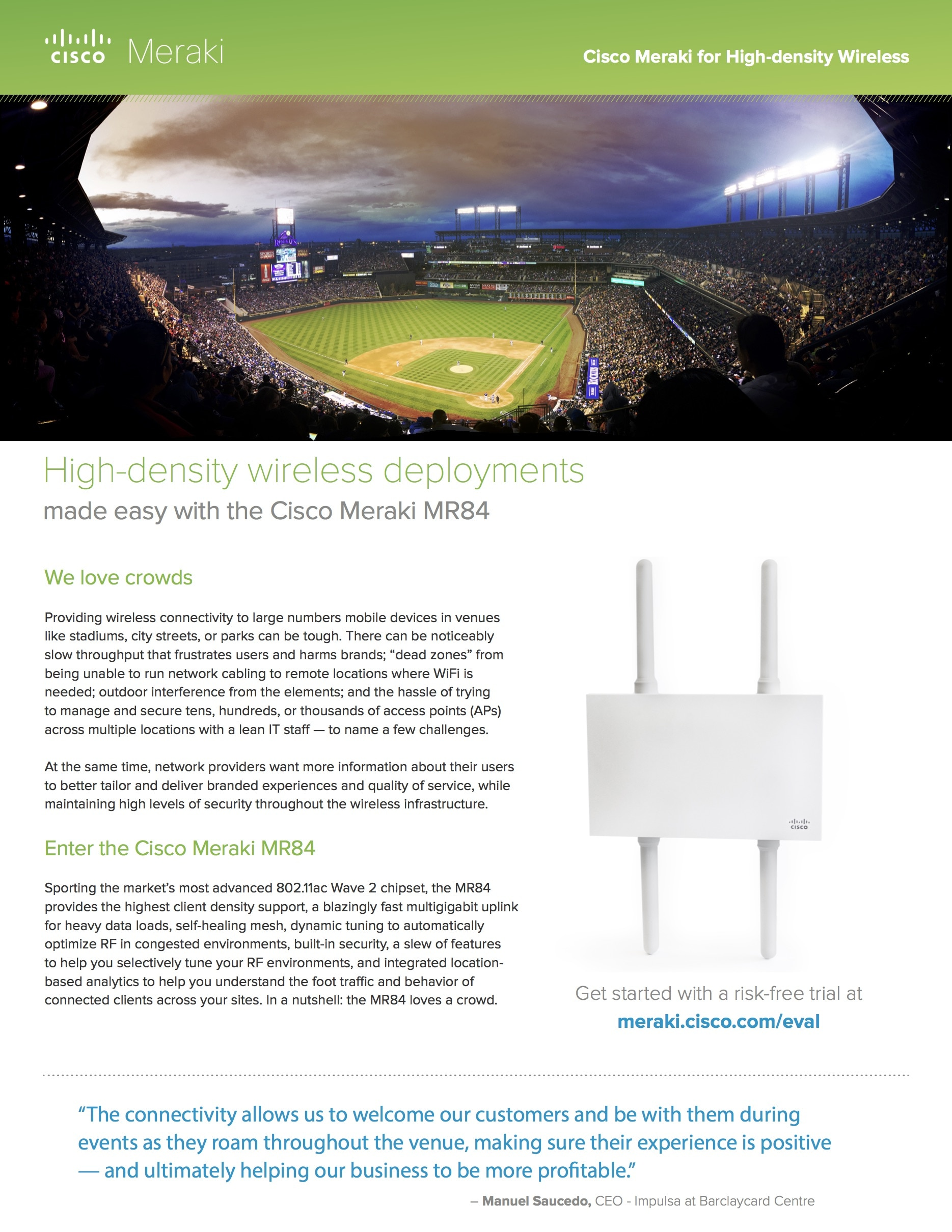 Meraki for High-density Wireless