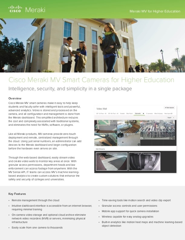 Meraki MV for Higher Education Solution Guide