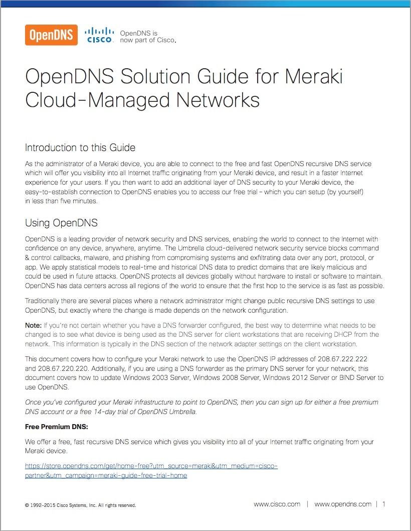 OpenDNS with Meraki Solution Guide