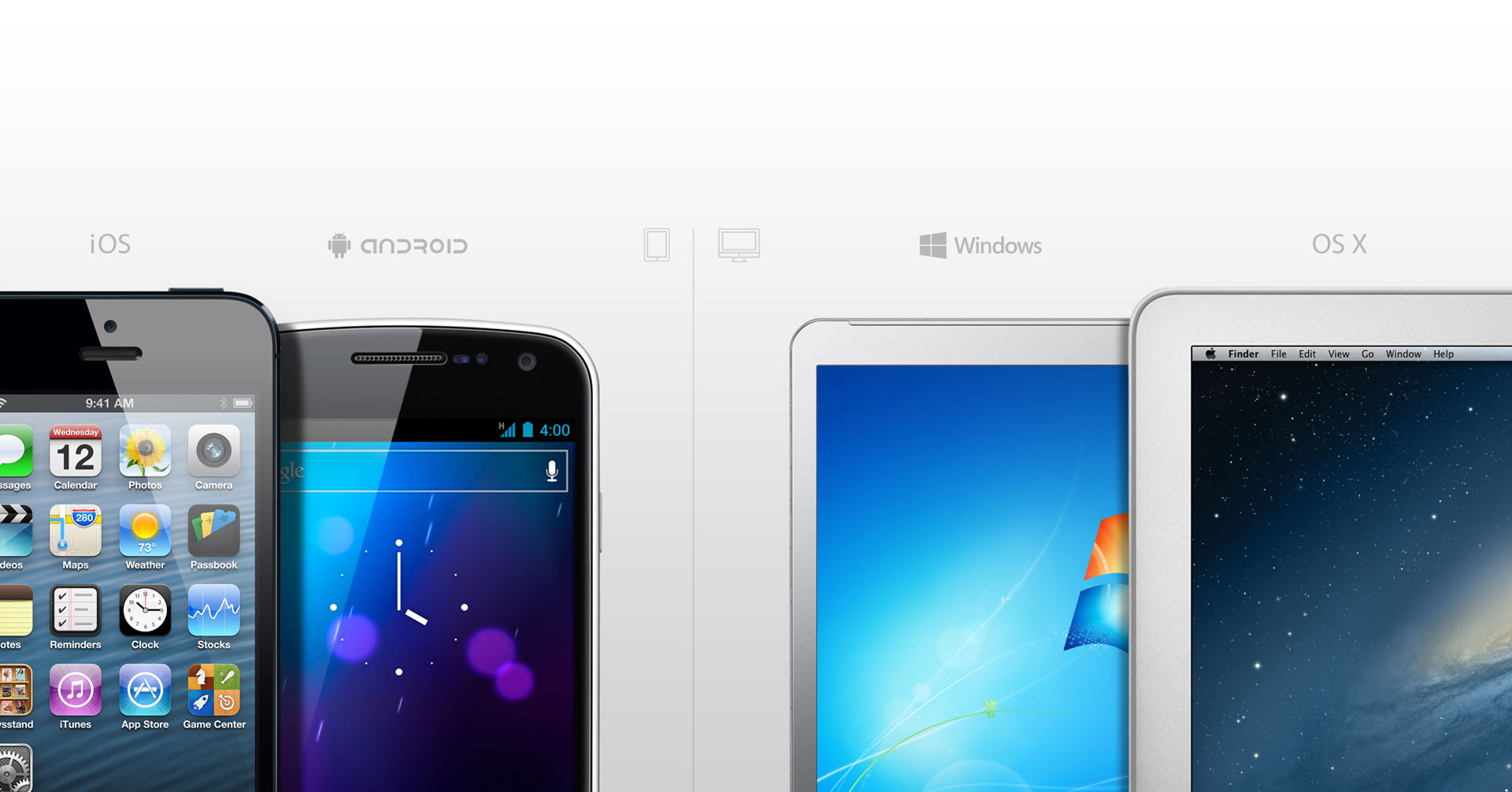iOS, Android, Windows, OS X