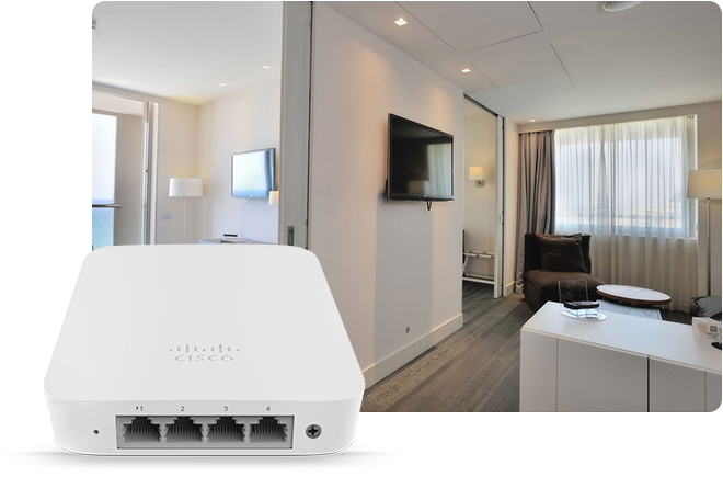 Cisco Meraki MR30H being used in a guest room