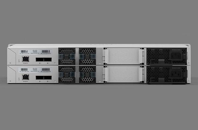 View of the back of two Cisco Meraki switches