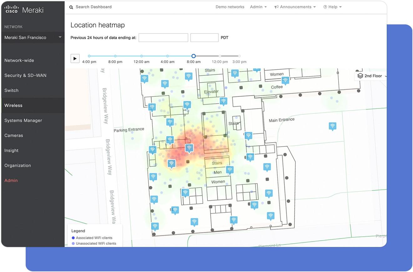 Cisco Meraki Cloud Dashboard Location Heatmap