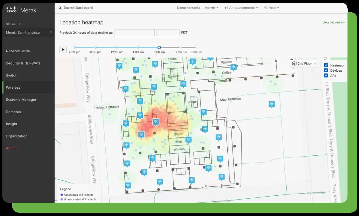 Cisco Meraki Dashboard - Location Heatmap