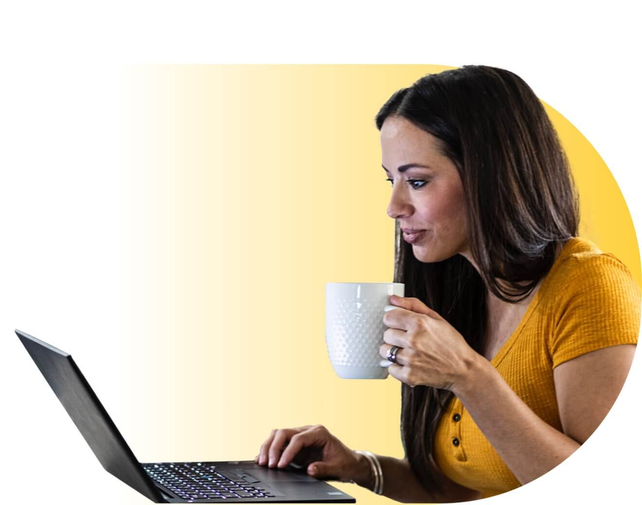 woman w/coffee and laptop
